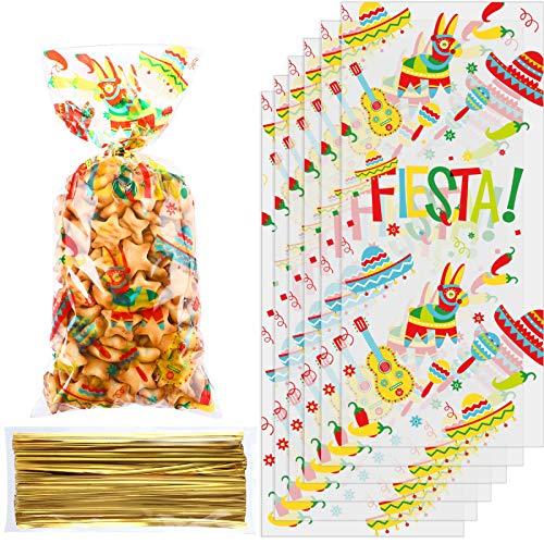 100 Bolsas de Regalo de Celofán de Fiesta Mexicana, Bolsa de Fiesta...