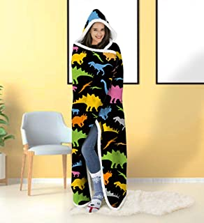 ALISISTER Hooded Blanket Adult Women Men 3D Cute Dinosaur Sherpa Plush Fleece Wearable Throw Blanket 60 X 80 Inches Black Costume Home Sofa Winter Super Soft Lightweight for Bed Room Spring