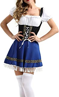 Guo Nuoen Women's Beer Festival Dress Party Cocktail Serving Girl Maidservant Waitress Dirndl Cosplay Costumes Clothing