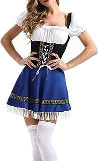 Qiuday Oktoberfest Kostüm für Damen KostüM Bier MäDchen Dirndl Maid Kleid Stilvoll Frau Lange Leer Und Weiß Festival Cosplay Bluse Outfits Oberbekleidung Kimono Trachtenkleid Traditionelles Abendkleid