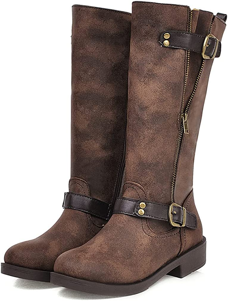 SO SIMPOK Womens Knee High Boots Retro Comfortable Western Motorcycle Combat Riding Boots