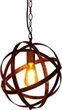 Huahan Haituo Lampa wisząca w stylu vintage, w kształcie globusa, metalowa, sferyczna, wymienna lampa sufitowa do salonu, ...