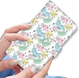 [bodenbaum] isai vivid LGV32 手帳型 スマホケース カード ミラー スマホ ケース カバー ケータイ 携帯 LG エルジー イサイ ビビッド au 鳥 蝶 草花 イラスト カラフル f-358 (A.ホワイト)