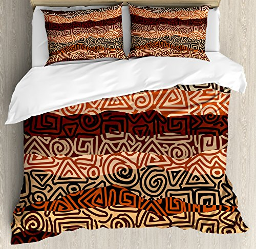 Ambesonne Vintage Duvet Cover Set King Size, Ethnic Strikes Pattern in Brown Colors Ancient Curved Spiral Lines African Figures, Decorative 3 Piece Bedding Set with 2 Pillow Shams, Multicolor