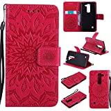 Guran® Custodia in Pelle per LG Spirit H420 (4,7 Pollici) Smartphone Avere Carta Slot Supporto Protettiva Flip Case Cover-Rosso