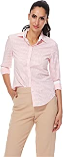 Nautica Shirt For Women - Pink And White, XL
