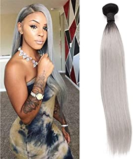Brazilian Ombre Human Hair Bundle Two Tone Virgin Hair T1b/Grey Dark Roots Black To Grey Straight Wave Double Weft Human Hair Single Bundle 100g Sew In Hair Extensions Sliver Grey Colored Hair(18inch)
