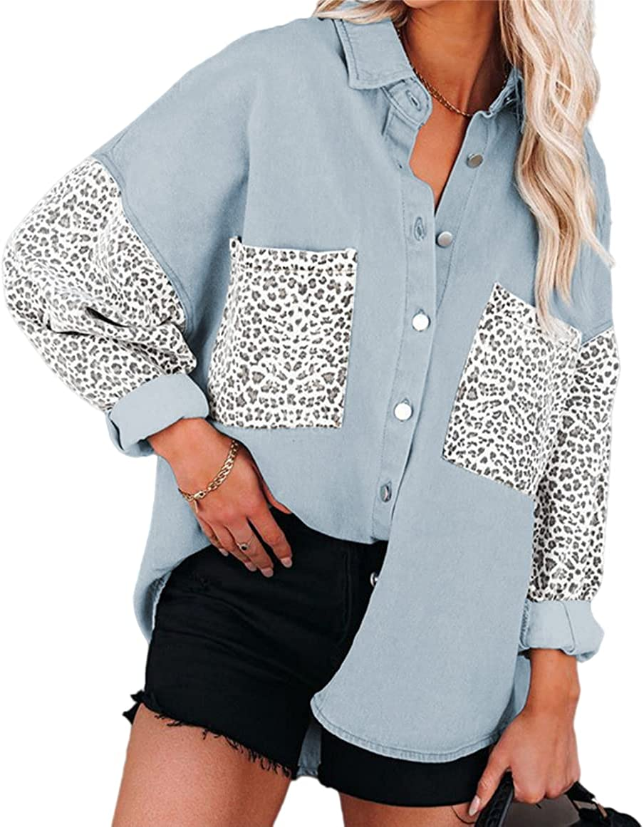 Melliflo Denim Jacket for Women Contrast Leopard Long Sleeve Button Down Shirts Oversized Jean Jacket Coat with Pockets