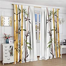 Rod Pocket Curtains W84 x L96 Inch,for Bedroom,Nursery,Living Room,Bamboo House Decor,Bamboo Grove Calm Your Mind Slow Down Zen Relax Hand Drawn Style Artwork,Cream Brown White