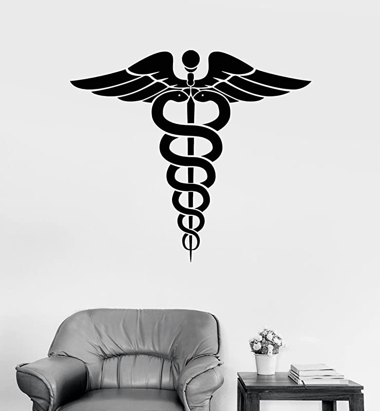 BorisMotley Wall Decal Caduceus Medicine Pharmacy Healthcare Symbol Vinyl Removable Mural Art Decoration Stickers For Home Bedroom Nursery Living Room Kitchen