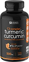 Turmeric Curcumin C3 Complex 500mg, Enhanced with Black Pepper & Organic Coconut Oil for Better Absorption; Non-GMO & Gluten Free - 120 Count
