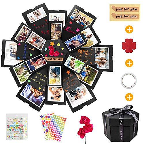 KIPIDA Explosion Box, Caja Sorpresa Creativa 6 Caras Caja de Regalo de áLbum Hecha a Mano Creativa áLbum De Recortes DIY, Aniversario de CumpleañOs,ValentíN,Boda,áLbum de Fotos para Mujer Novio Niños