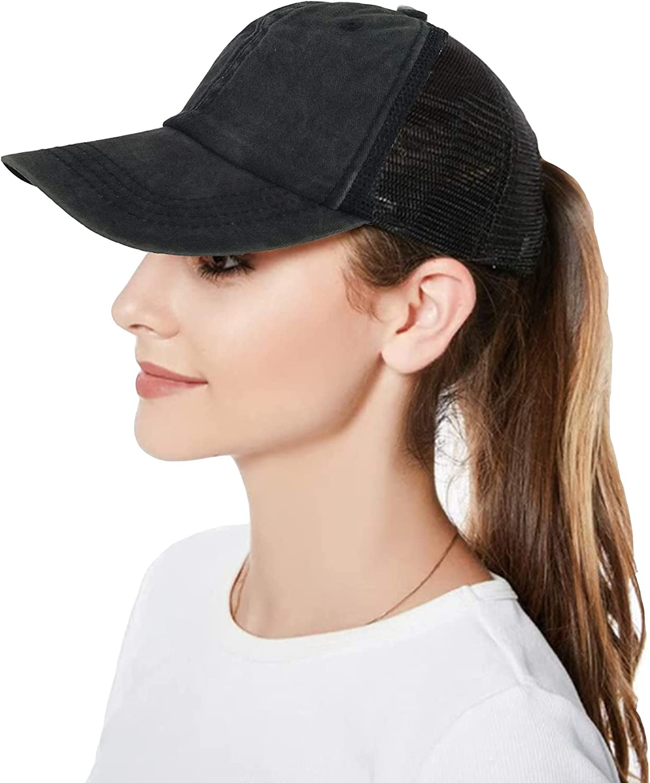 Women Ponytail Messy High Bun Baseball Hat Pony Caps Adjustable Trucker Cap Washed Cotton Sun Visor