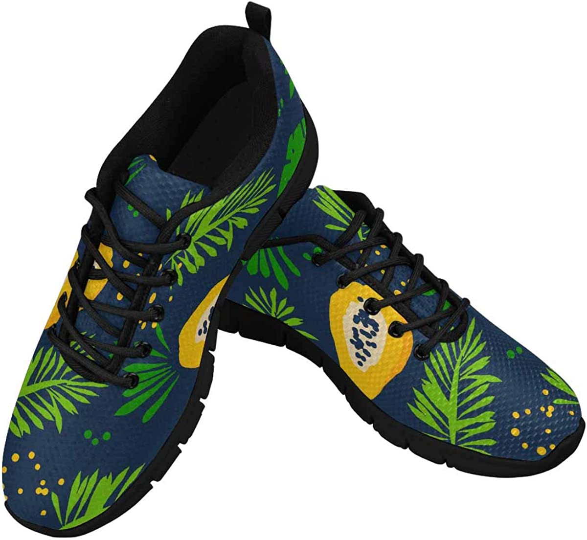 INTERESTPRINT Abstract Papaya and Palm Branches Lightweight Mesh Breathable Sneakers for Women