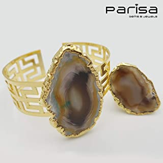 Ottoman Collection - Handmade gold plated bracelet and ring with Agate stone