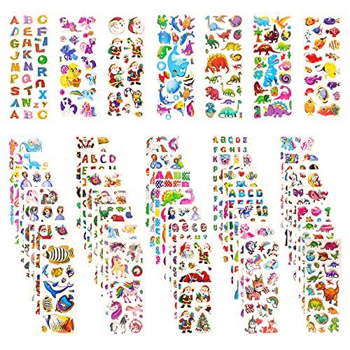 3D Aufkleber für Kinder und Kleinkinder, 42 Bogen Geschwollen Stickers, Niedliche Verschiedene Set Buchstab en, Tier, Zahlen, Schmetterlinge, Einhorn, Dinosaurier und vieles mehr