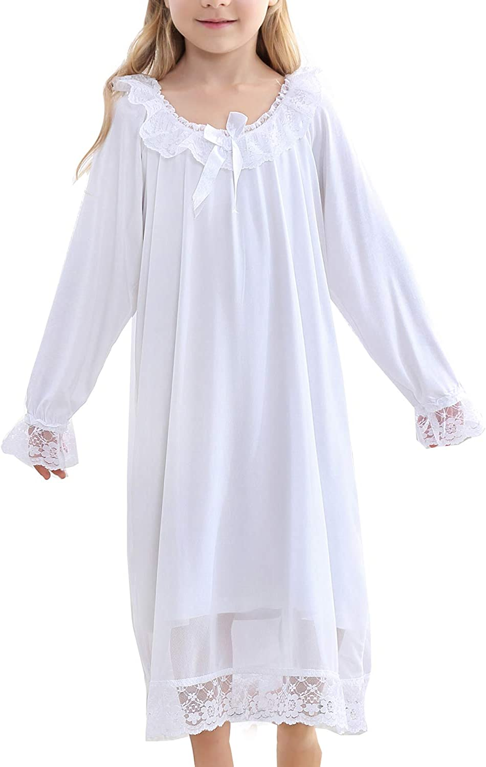 Girls' Lace Nightgowns & Bowknot Sleep Shirts Soft Cotton Sleepwear for Toddler 3-12 Years