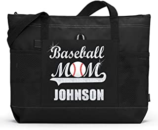 Baseball Mom Sports Tote with a Player's Name in Silver Glitter or Soft Solid White on a Black Bag. Fast and