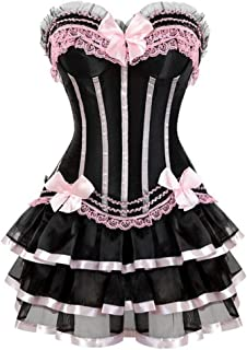 Burlesque Corsets Dress with Skirt Cute Vintage Striped Floral Lace Up Bustier