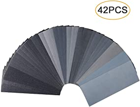 Coceca 48pcs Wet Dry Sandpaper 120 to 3000 Grit Assortment 9 x 3.6 inches for Wood Furniture Finishing Metal Sanding and Automotive Polishing