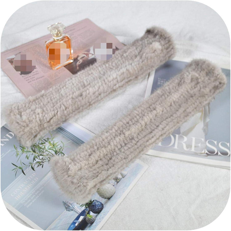 Women Long Style 40cm Real Mink Fur Gloves Girls Real Knitted Mink Fur Fingerless Gloves Strong Elasticity Real Mink Fur Mittens-light grey-