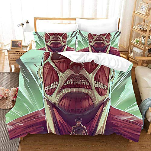 917 Duvet Cover Sets 3D Attack On Titan Printing Child Adult Bedding Set 100% Polyester Gift Duvet Cover 3 Pieces With 2 Pillowcases F-UK King(230x220) cm