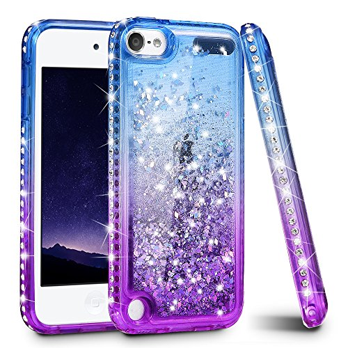 iPod Touch 7 Case, iPod Touch 5 6 Case, Ruky Quicksand Series Glitter Flowing Liquid Floating Bling Diamond Flexible TPU Girls Women Cute Case for iPod Touch 5th 6th 7th Generation Case (Blue Purple)