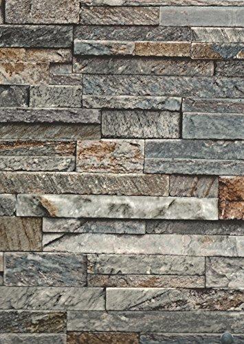 Hornschuch Wandbelag Naturstein Stonewall grau Steinwand Ceramics Fliesen Tapete PVC Belag Meterware NEU