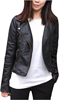 Abetteric Women's Slim Tailoring Leather Jackets Short Coat with Zips