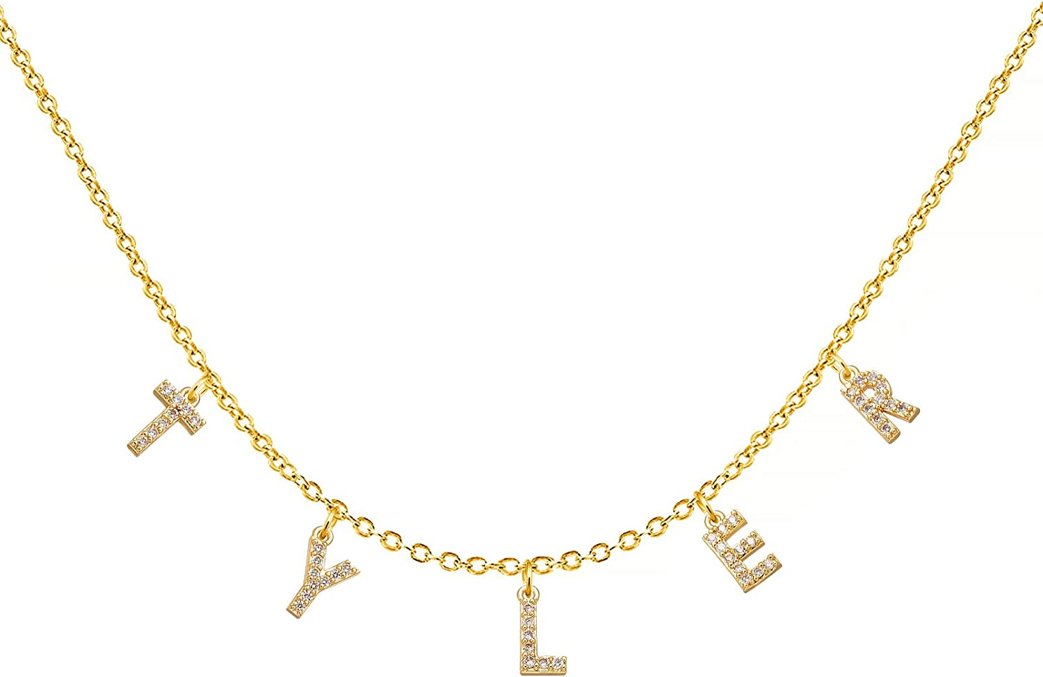 YSAHan Iced Name Choker Necklace Personlized 18K Gold Plated Speced Out Initial Script Nameplate Pendant Jewelry Gift for Women Girls