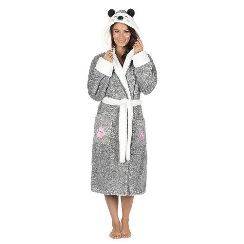 Luxury Ladies Animal Koala   Polar Bear Soft Hooded Fleece Bath Robe  Dressing Gown (16 702588c15