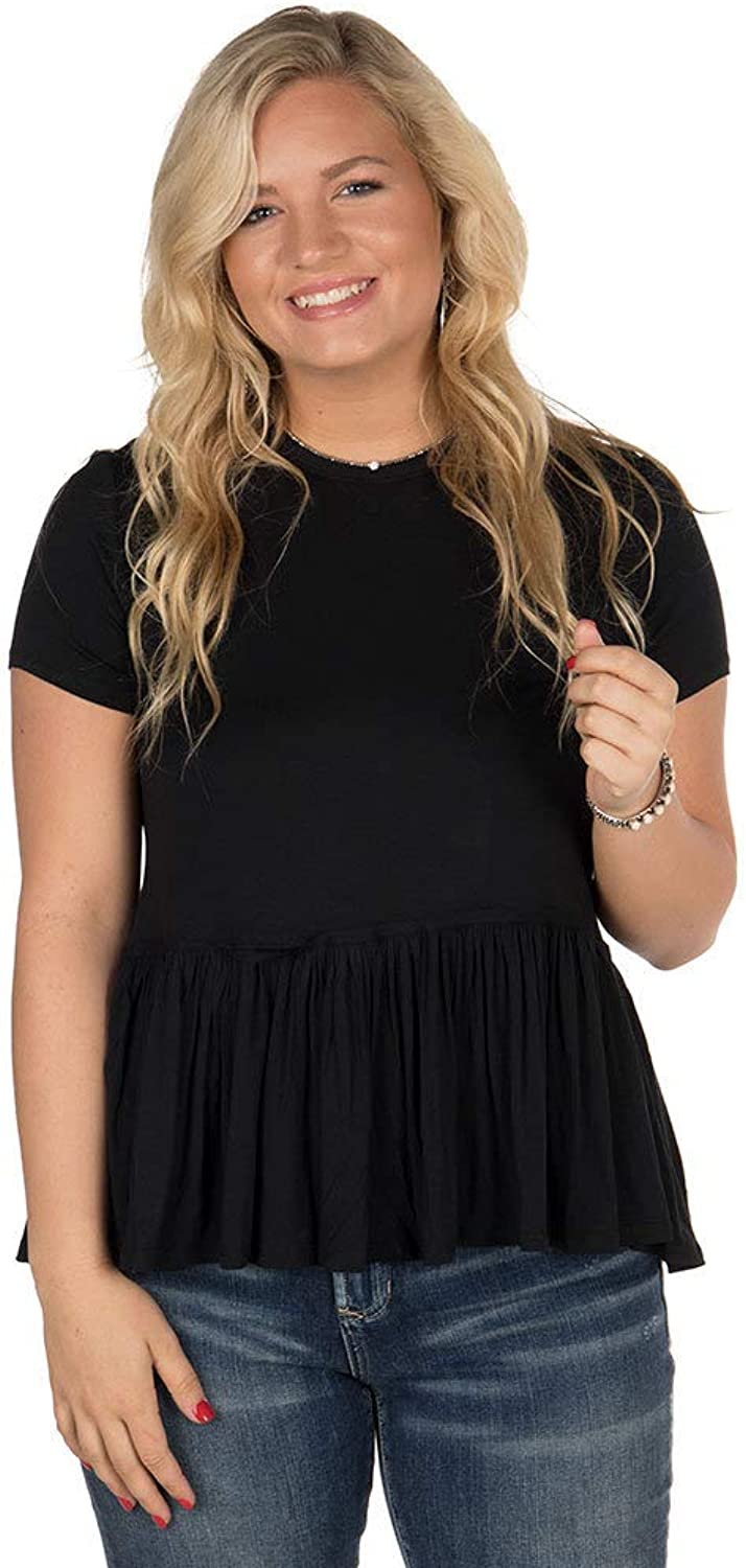 Mud Pie Black Mason Flounce Top