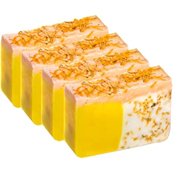 Orange Soap with Calendula Oil (SET of 4) - Handmade Soap Bar with Orange, Yuzu and Calendula Essential Oils, flower petals - Organic and All-Natural – by Falls River Soap Company
