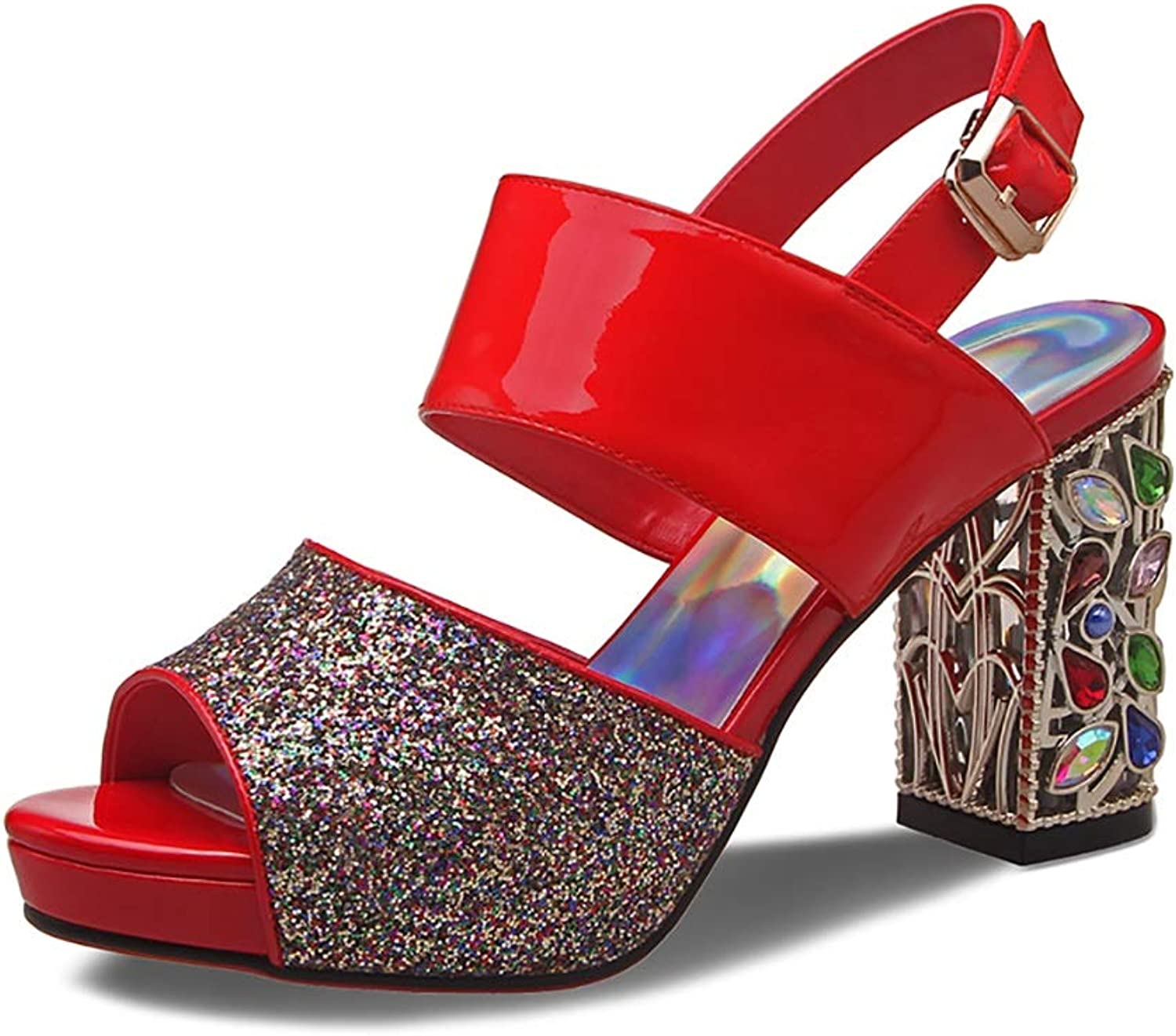 High-Heeled Sandals Rhinestone Sequins Coarse Heel Patent Leather shoes, Red and White 8.5cm (color   Red, Size   37)