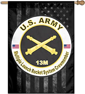 Army MOS 13M Multiple Launch Rocket System Crewmember Yard Banner Flags Springtime 27