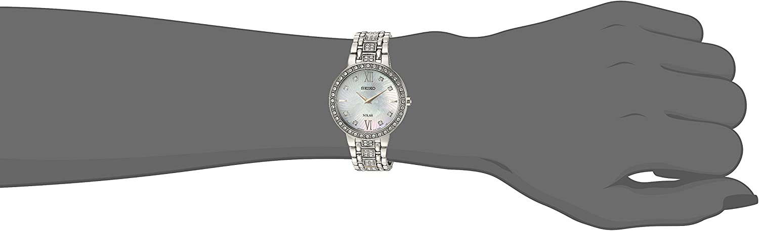 Seiko Womens Ladies Crystal Dress Stainless Steel Japanese-Quartz Watch with Stainless-Steel Strap, Silver, 14 (Model: SUP359)