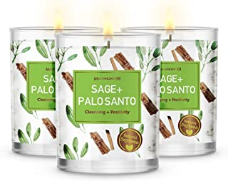 MAGNIFICENT101 Pure Sage + Palo Santo Smudge Set of 3 Candles for House Energy Cleansing, Banish Negative Energy I Purific...