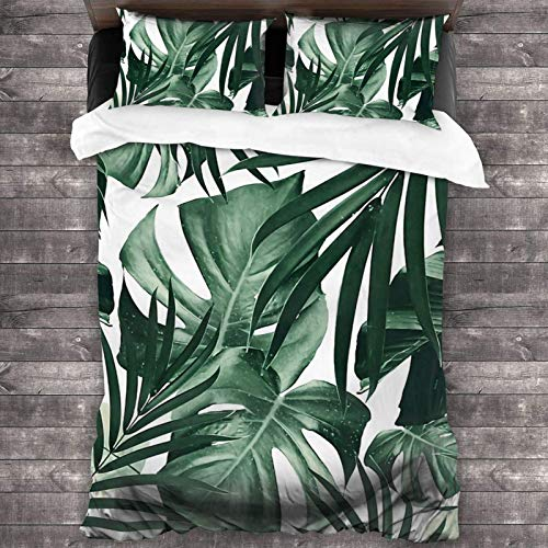 Juego de ropa de cama de 3 piezas con diseño de hojas tropicales de la selva de 2016 x 180 cm, funda de edredón súper suave y cálida, juego de cama Queen con 2 fundas