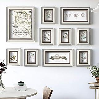 JY Conjunto de marcos de fotos de madera en el centro comercial residencial montado en la pared Marcos de fotos retro Wall...