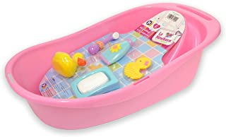 """JC Toys 7-Piece Pink Baby Doll Bath Gift Set Fits Most Dolls up to 16"""" Dolls - Ages 2+ - Designed by Berenguer Boutique Baby Doll"""