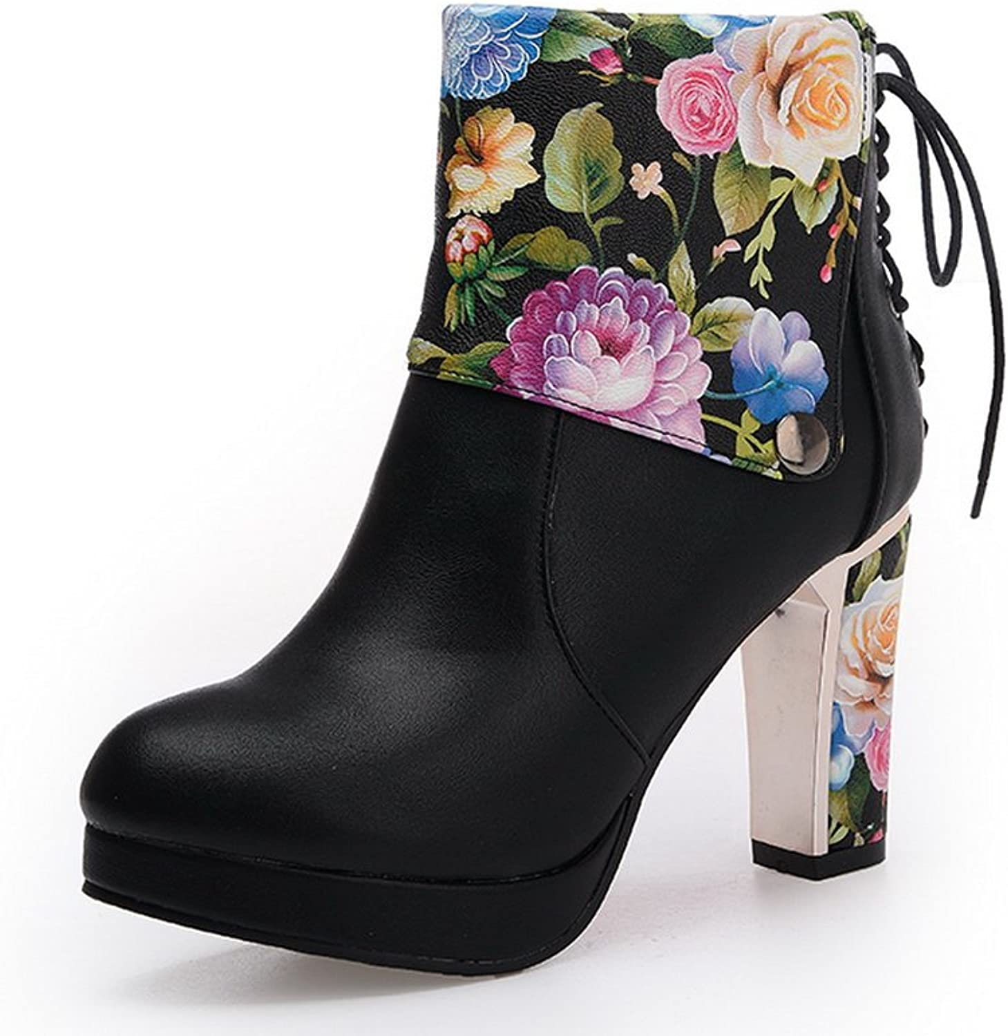 AdeeSu Womens Comfort Floral Slip-Resistant Pointed-Toe Chunky Heels Urethane Boots SXC01820