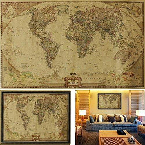 Souarts retro landkaart fotoposter wanddecoratie afbeelding kamer kantoor decoratie geïllustreerde