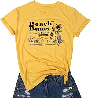 Beach Bums Aloha Beach Cute T Shirt Vacation Tees for Women Letter Graphic Shirts Summer Casual Tops