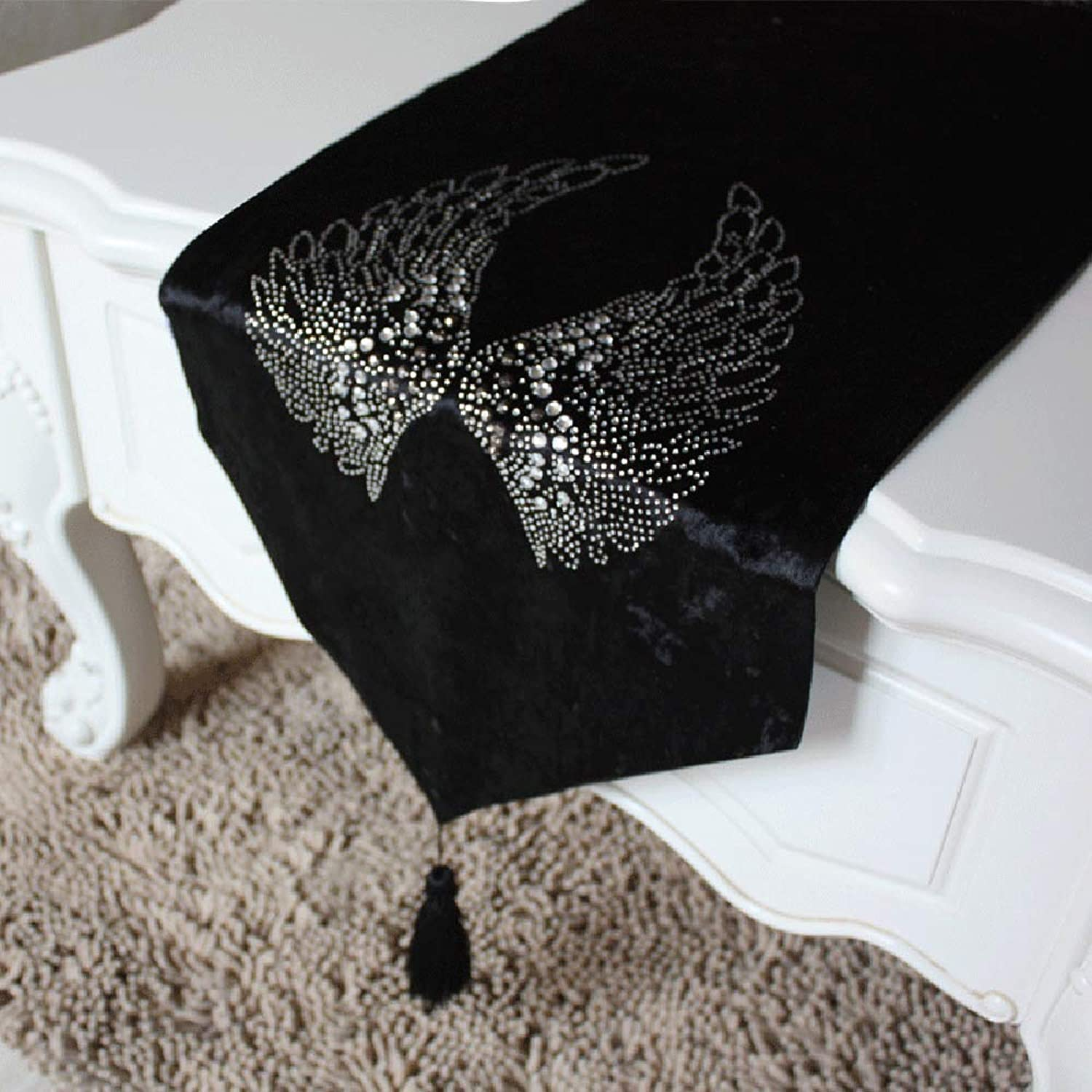 Table flag Rhinestone wings tablecloth, coffee table cloth, TV cabinet flag bed flag(A;30  220cm;)