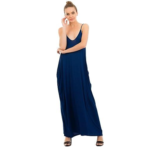 de2e9e3b85b Love In Women s Full-Length Harem Spaghetti Strap Maxi Dress with Pockets