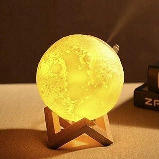 Lámpara de Luna en 3D con Humidificador Alimentado USB y 3 Color Luz de Luna Regulable Regalo Ideal 13,5 cm con Base de Madera