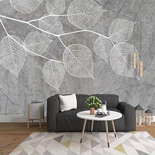 N\C 3D Photo Wallpaper Modern Hand Painted Grey Leaf Mural Wall Papers Home Decor Living Room Bedroom Wallpaper