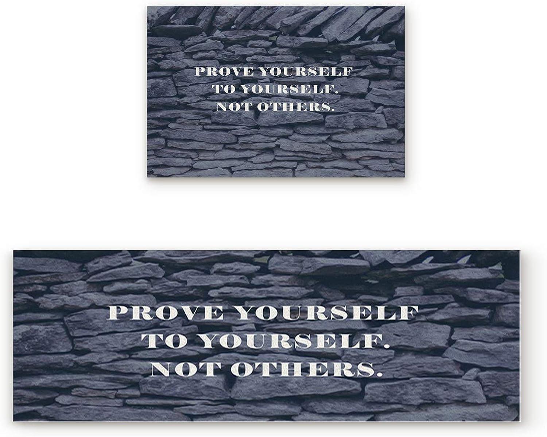 Libaoge Non-Skid Slip Rubber Backing Kitchen Mat Runner Area Rug Doormat Set, Encourage Quote  Prove Yourself to Yourself Not Others Carpet Indoor Floor Mats Door 2 Packs, 19.7 x31.5 +19.7 x47.2