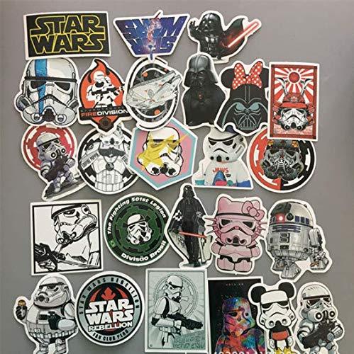 Pegatinas de película de Dibujos Animados Mixtos de PVC Star Wars para Equipaje de Juguete Moto Coche Maleta teléfono portátil monopatín niños Pegatinas 100 Piezas