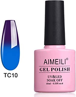 AIMEILI Soak Off UV LED Temperature Colour Changing Chameleon Gel Nail Polish - Purple To Blue (TC10) 10ml